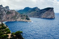 Cliffs at Cap Formentor in Majorca, Spain, Europe. Steep cliffs after rain at Cap Formentor in Majorca, Spain, Europe, a popular holiday destination Royalty Free Stock Photography