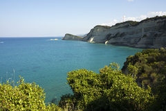 Cliffs at Cape Drastis, Corfu, Greece Royalty Free Stock Images