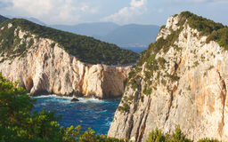 Cliffs at Cape Lefkatas, Lefkada , Ionian sea, Greek Islands Stock Photos