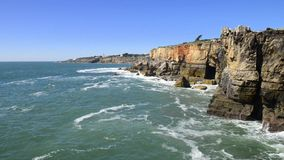 Cliffs at Cascais, Portugal stock footage