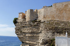 Cliffs and citadel of Bonifacio, Southern Corsica Island, France. Bonifacio is located directly on the Mediterranean Sea, separated from Sardinia by the Strait Royalty Free Stock Images