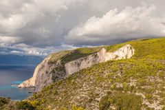 Cliffs with clouds on Zakynthos island in Greece. Amazing cliffs with clouds on Zakynthos island in Greece Stock Photography