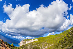 Cliffs with clouds on Zakynthos island in Greece Royalty Free Stock Photos