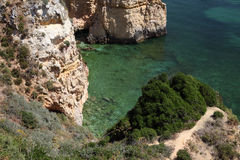 Cliffs at the coast of Algarve Royalty Free Stock Image