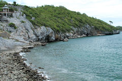 Cliffs coast rock sichang. Seaside cliffs island Ko Sichang in Thailand stock photography