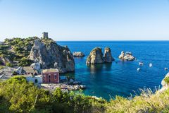 Cliffs on the coast in Scopello in Sicily, Italy Stock Image