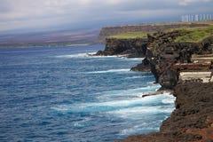 Cliffs on the coastline near green sands beach, Hawaii stock photography