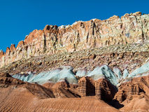 Cliffs of Color. The Waterpocket Fold, a nearly one hundred mile long geological feature in the earth's crust, runs through Capitol Reef National Park, Utah stock images