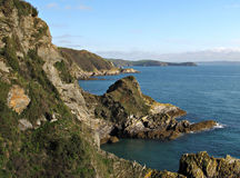 Cliffs in Cornwall near Mevagissey Royalty Free Stock Photo