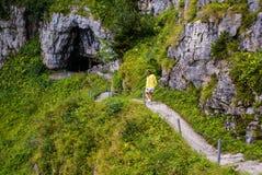 Cliffs covered with trees near Ebenalp, Switzerland Stock Photo
