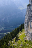 Cliffs covered with trees near Ebenalp, Switzerland Royalty Free Stock Photo