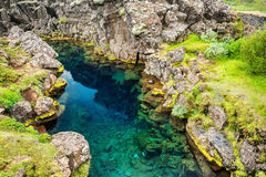 Cliffs and deep fissure in Thingvellir, Iceland. Cliffs and deep fissure in Thingvellir National Park, southern Iceland Royalty Free Stock Photo