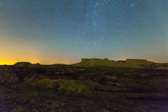 Cliffs at desert landscape of Navarra in    night Stock Images
