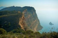 Cliffs. Dramatic cliffs in Sierra Helada natural park, Benidorm, Costa Blanca, Spain Stock Photos