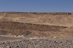 Cliffs at the edge of the Ramon Crater Royalty Free Stock Photos