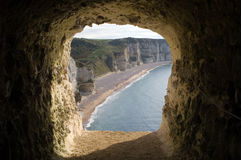 Cliffs at Etretat. In Northern France Royalty Free Stock Photos