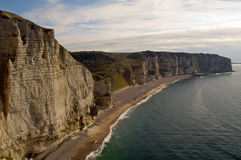 Cliffs at Etretat. In Northern France Stock Photos