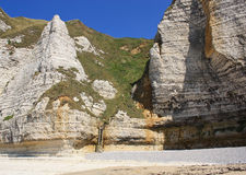 The cliffs of Etretat. The beautiful rocky beach of Etretat, Normandy, France Stock Photos