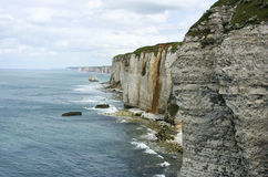 Cliffs of Etretat. The cliffs of Etretat in a cloudy day Stock Images