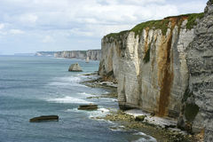 Cliffs of Etretat. The cliffs of Etretat in a cloudy day Royalty Free Stock Images