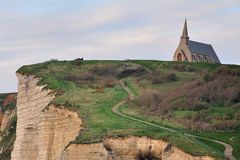 CHAPEL ON THE CLIFF, ETRETAT, FRANCE Royalty Free Stock Photography