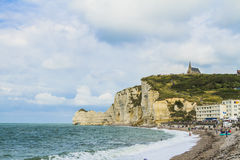 The cliffs of Etretat. In Normandy Stock Photos