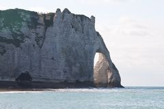 The cliffs at Etretat in Normandy, France Royalty Free Stock Photos