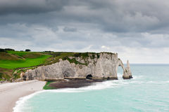 The cliffs of Etretat in Normandy Stock Image