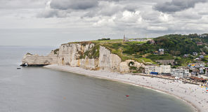 Cliffs of Etretat Panorama Stock Photos