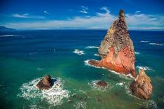Cliffs of extinct lava at the Ponta de Sao Lourenco. Madeira, Portugal Stock Images
