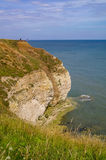 Cliffs at Flamborough Head, Yorkshire, England. Steep cliffs at Flamborough Head with distant figures and grassy foreground Stock Photos