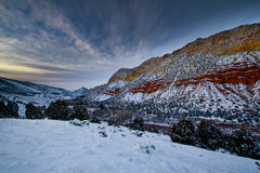 Cliffs of Flaming Gorge after sunset Stock Images