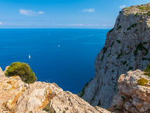 Cliffs of the Formentor, Mallorca. Cliffs photographed from view point next to the road leading to the Cape Formentor lighthouse located it the north coast of Stock Images