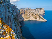 Cliffs of the Formentor, Mallorca. Cliffs photographed from view point next to the road leading to the Cape Formentor lighthouse located it the north coast of Royalty Free Stock Photo