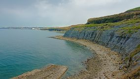 Cliffs of the French Opal north sea coast near Boulogne sur mer. Nord Pas De Calais, France on a sunny day with blue sky stock photography