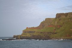 Cliffs at Giant's Causeway, Northern Ireland. On an overcast day in November Stock Photo