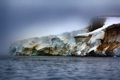Cliffs, glaciers and snowfields Rudolf island Royalty Free Stock Photography