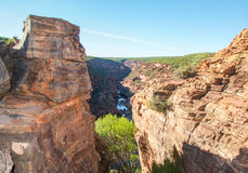 Between the Cliffs. Gorge view from between the sandstone cliffs in the Z-bend scenic landscape with native plants, sandstone rock and river gorge under a clear Royalty Free Stock Images