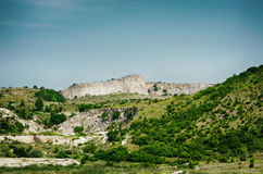 Cliffs With Green Trees Stock Image