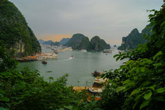 Cliffs of Halong Bay at sunset. Entrance to the caves in Halong Bay Royalty Free Stock Photos