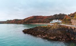 Cliffs on the Island of Jersey in the English Channel stock photos