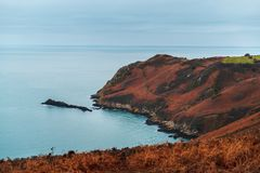 Cliffs on the Island of Jersey in the English Channel stock images