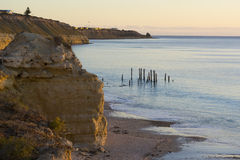 Cliffs and Jetty Ruins - Port Willunga, SA - Golden Hour Stock Photo