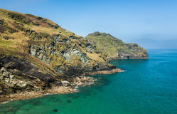 Cliffs jutting into the ocean near Tintagel Cornwall Royalty Free Stock Images