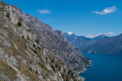 Cliffs at the Lago di Garda near Limone, Italy Royalty Free Stock Images