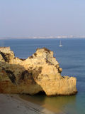 Cliffs in Lagos. A beautiful beach and cliff in Lagos, Portugal royalty free stock photo