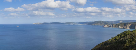 Cliffs landscape. Large format panorama of a summer landscape showing several cliffs at Galicia shore Stock Photography