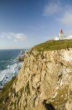 Cliffs and lighthouse of Cabo da Roca on the Atlantic Ocean in Sintra, Portugal, the westernmost point on the continent of Europe, Royalty Free Stock Photos
