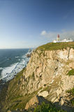 Cliffs and lighthouse of Cabo da Roca on the Atlantic Ocean in Sintra, Portugal, the westernmost point on the continent of Europe, Royalty Free Stock Photography
