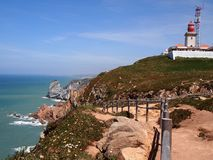 Cliffs and lighthouse in Cabo da Roca near Sintra, Portugal, continental Europe's westernmost point